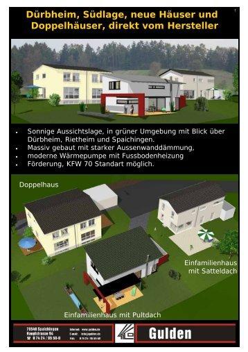 Dürbheim, Südlage, neue Häuser und Doppelhäuser, direkt vom ...