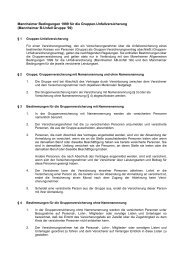 Mannheimer Bedingungen 1999 für die Gruppen ... - Versicherungen