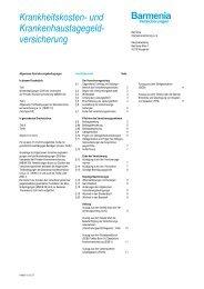 Allgemeine Versicherungsbedinungen - Barmenia Versicherungen
