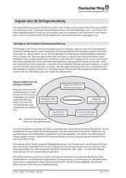 Angaben über die Beitragsentwicklung - Versicherungen