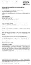 Kundeninformationsblatt zur Krankenversicherung - Versicherungen ...