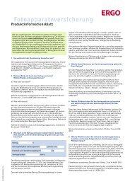 Produktinformationsblatt ERGO - Versicherungen für alle Lebenslagen
