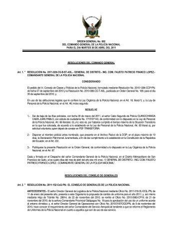 ORDEN GENERAL No. 082 DEL COMANDO GENERAL DE LA ...