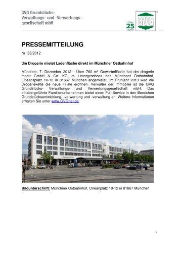 dm Drogerie mietet Ladenfläche direkt am Münchner Ostbahnhof