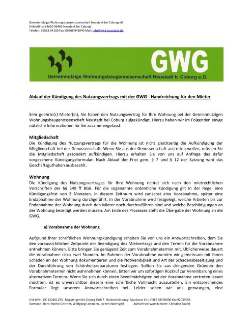 Ablauf Der Kündigung Des Nutzungsvertrags Mit Der Gwg