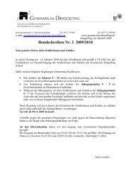 Rundschreiben Nr. 2 2009/2010 - Gymnasium Dingolfing