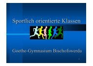 Sportlich orientierte Klassen - Goethe Gymnasium Bischofswerda