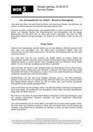 Neugier genügt, 22.06.2012 Service Garten - WDR 5
