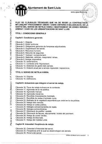 Plec de clàusules tècniques - Ajuntament de Sant Lluís