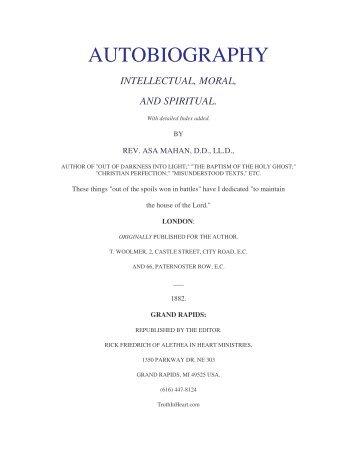 Asa Mahan's Autobiography - Library of Theology