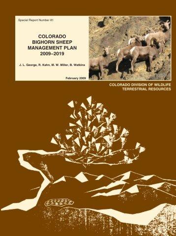 COLORADO BIGHORN SHEEP MANAGEMENT PLAN 2009−2019