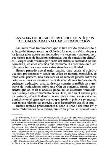 las odas de horacio. criterios cient~fjcos actuales - InterClassica