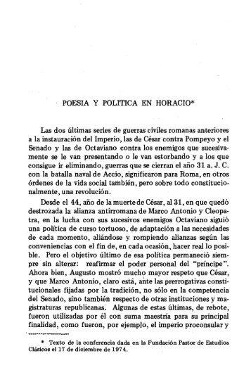POESIA Y POLITICA EN HORACIO* Las dos últimas ... - InterClassica