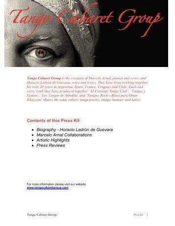Contents of this Press Kit • Biography - Horacio Ladrón de Guevara ...