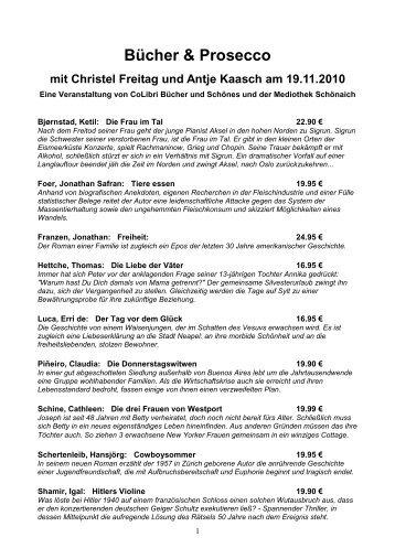 Bücher & Prosecco mit Christel Freitag und Antje Kaasch am 19.11 ...