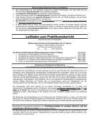 Einige wichtige allgemeine Tipps zum Praktikum - Gymnasium ...