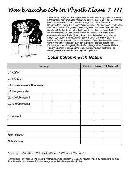Deckblatt Für Den Physikhefter In Der 7 Klasse