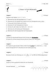 2. Klausur im Fach Mathematik A - Gymnasium Steglitz