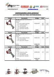 dispensadores cinta adhesiva lista de precios ... - PKG-Group Spain