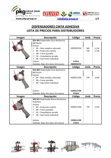 dispensadores cinta adhesiva lista de precios ... - PKG-Group Spain