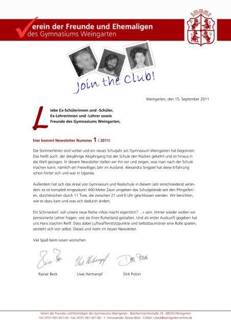 Newsletter 1 2011 - Gymnasium Weingarten