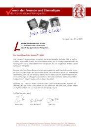 Newsletter 2008 - Gymnasium Weingarten