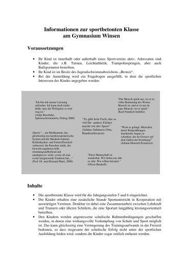 Informationen zur sportbetonten Klasse am Gymnasium Winsen