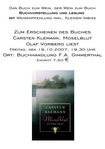 Moselblut von Klemann, Carsten; Ein Wein-Krimi ... - FA Gimmerthal