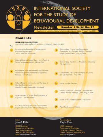 Sociocultural Perspectives on Cognitive Development - International ...