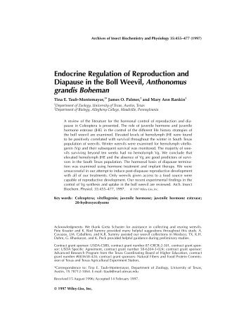 Endocrine Regulation of Reproduction and Diapause in the Boll ...