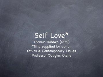 Thomas Hobbes: Self Love - Olena's