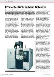 Effiziente Kühlung beim Schleifen - HAAS  Schleifmaschinen GmbH