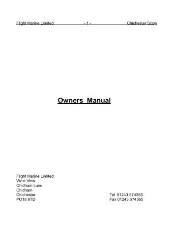 Owners Manual - Flight Marine Limited