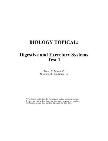 BIOLOGY TOPICAL: Digestive and Excretory Systems Test 1