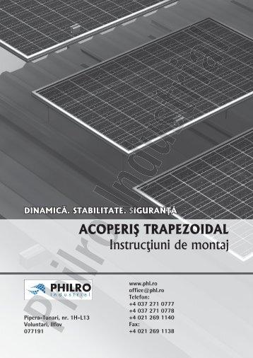 Detalii de montaj pe acoperis trapezoidal - Panouri fotovoltaice