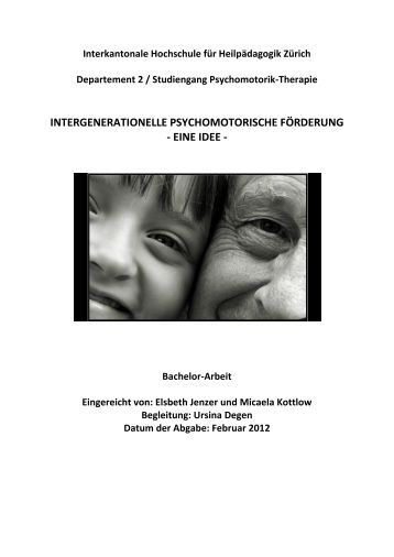 intergenerationelle psychomotorische förderung - eine idee - BSCW