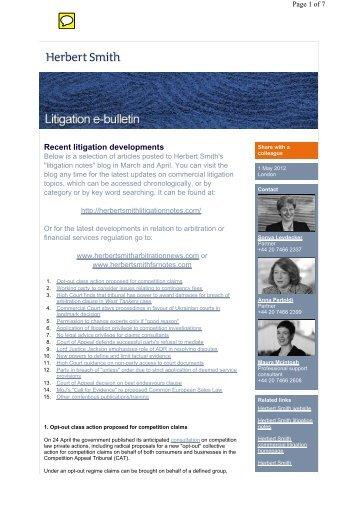 Recent litigation developments - Herbert Smith Freehills