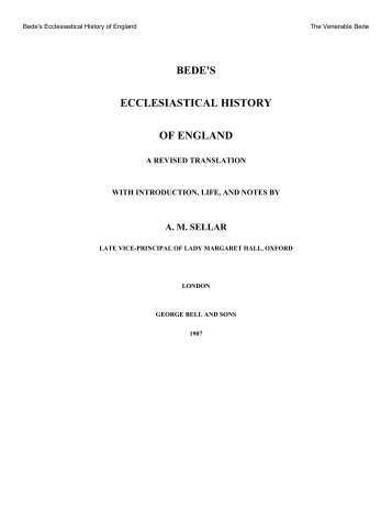 Bede's Ecclesiastical History of England - Giving And Sharing