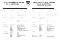 keble college chapel, oxford music list michaelmas term 2010