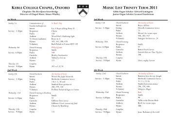 keble college chapel, oxford music list trinity term 2011