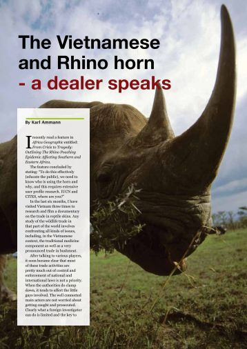 The Vietnamese and Rhino horn - a dealer speaks