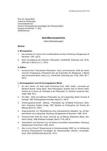 Publikationen - Abteilung Philosophie der Universität Bremen