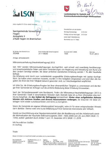 Infos vom LSKN bzgl. Mikrozensus - Samtgemeinde Hagen