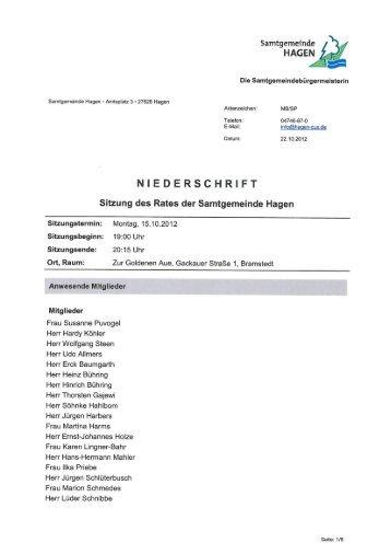 Niederschrift vom SG Rat am 15.10.12 - Samtgemeinde Hagen