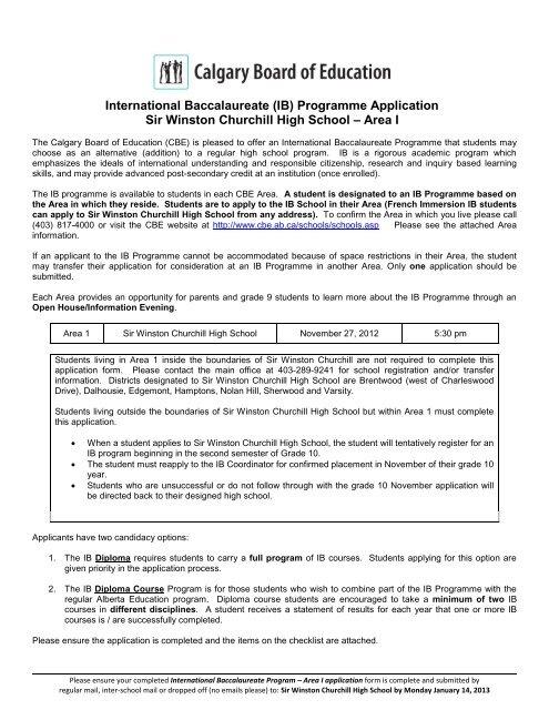 International Baccalaureate (IB) Programme Application Sir