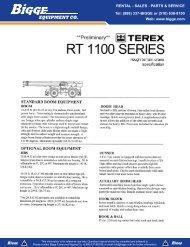 Terex RT1100 Crane Specifications - Cranes for Sale