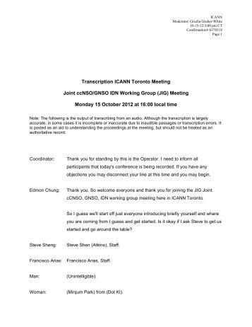 Transcript JIG 15 Oct - Toronto - Icann