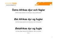 Östra Afrikas djur och fåglar Øst Afrikas dyr og fugler Østafrikas dyr ...