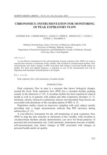 chronomics: instrumentation for monitoring of peak expiratory flow