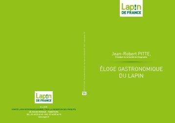 ÉLOGE GASTRONOMIQUE DU LAPIN - Lapin de France